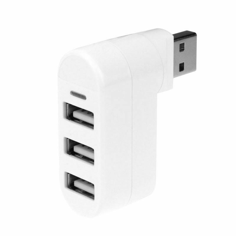 3 Ports USB 2.0 Cable Splitter Hubs - White