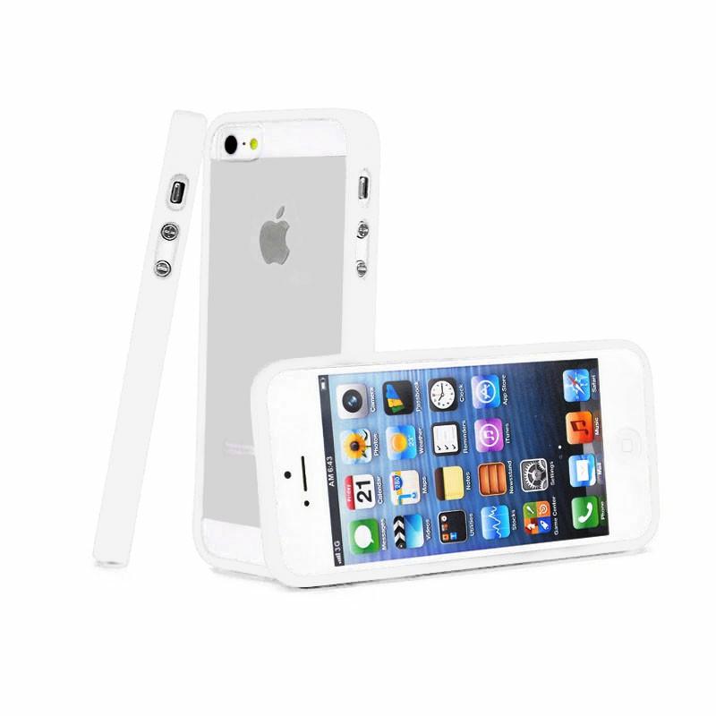 TPU Edge + PC Hard Back Case for iPhone 5C - White