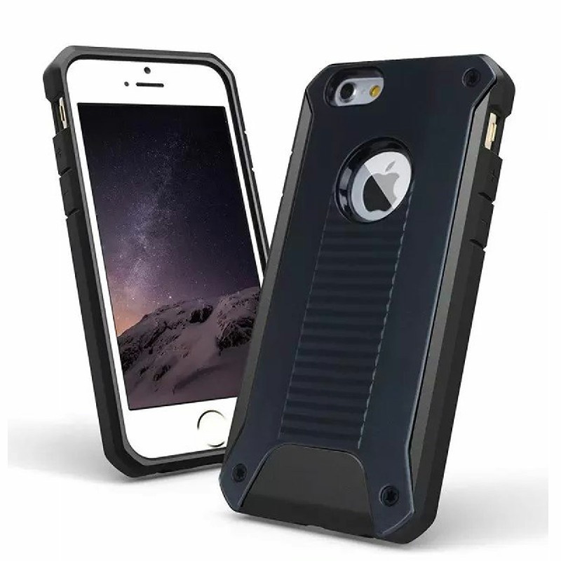 Rugged Armor Bumper Back Cover for iPhone 6 4.7 inch - Black