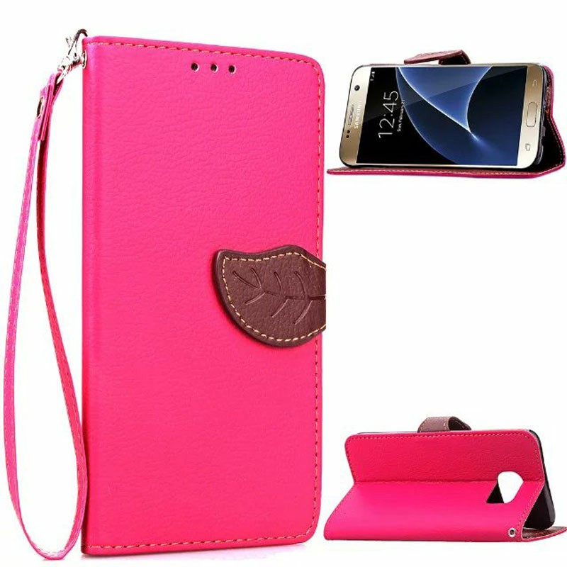 Leaf Clasp Magnetic Stand Leather Case for Samsung Galaxy S7 Edge - Rose Red
