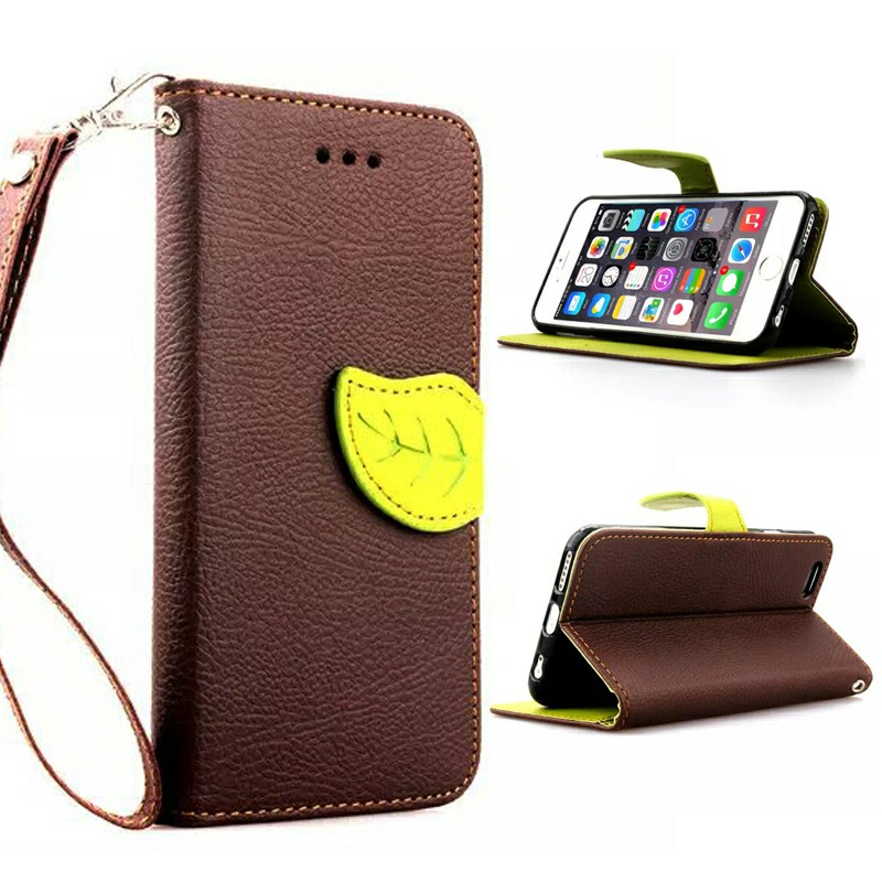 Leaf Clasp Magnetic Stand Leather Case for iPhone 6S - Brown