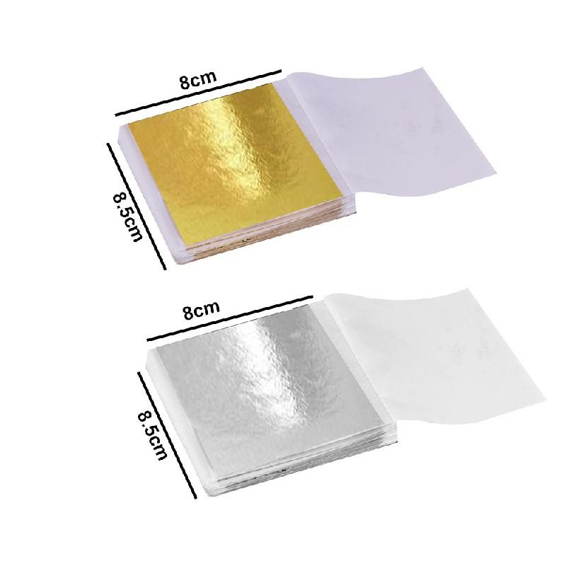 100 PCS Gilding Foil Sheets DIY Food Cake Gold Silver Copper Leaf Paper Decor