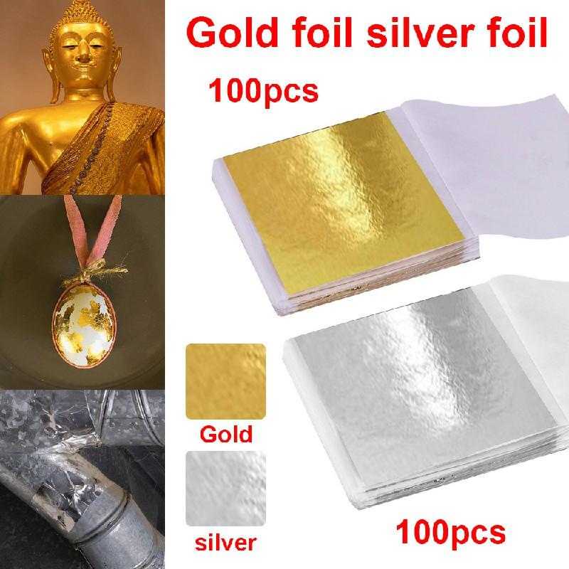 100 PCS Gilding Foil Sheets DIY Ceiling Gold Crafts Furniture Buddha Decor - Gold