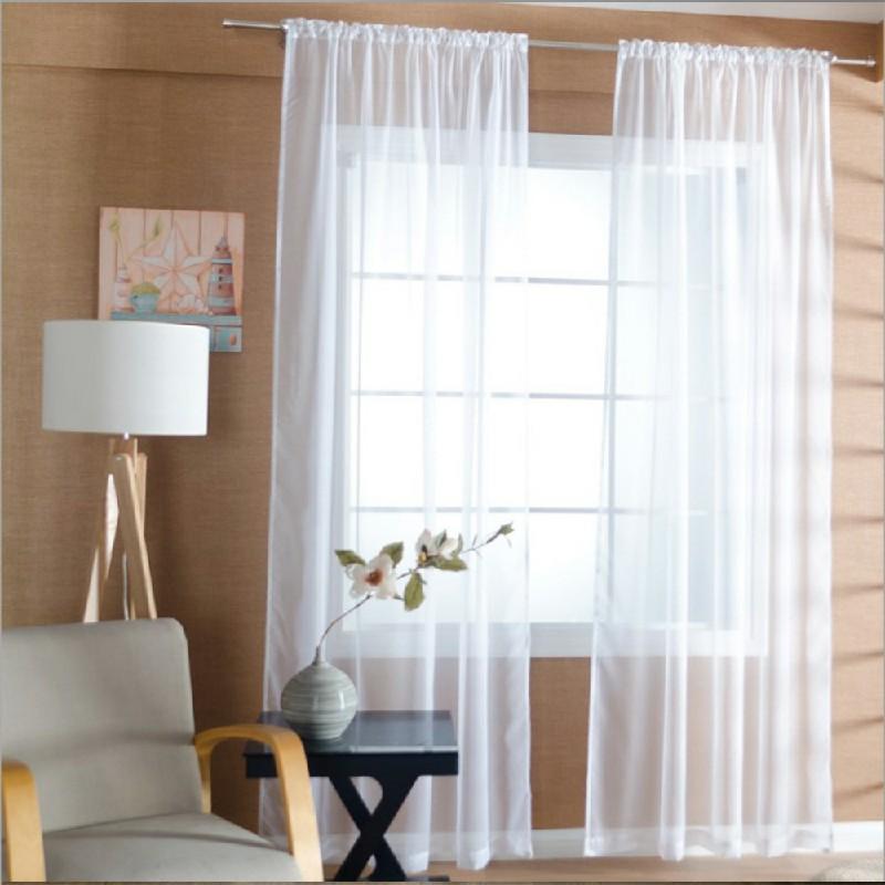 One Pair Sheer Slot Top Plain Voile Net Curtain Panels 140x229cm - White
