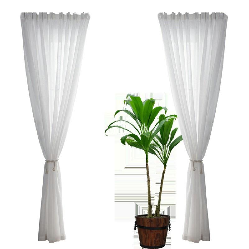 One Pair Sheer Slot Top Plain Voile Net Curtain Panels 140x137cm - Grey