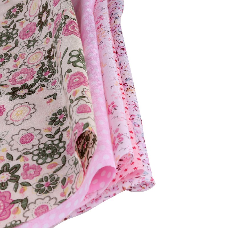 5pcs 50x50cm Cotton Fabric Assorted Pre-Cut Fat Quarters Bundle DIY Decor - Pink
