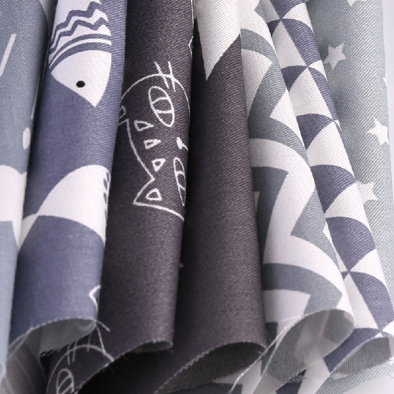 DIY 7PCS Bundles Fabric Cotton Floral Fat Quarters 50 x 50cm - Grey