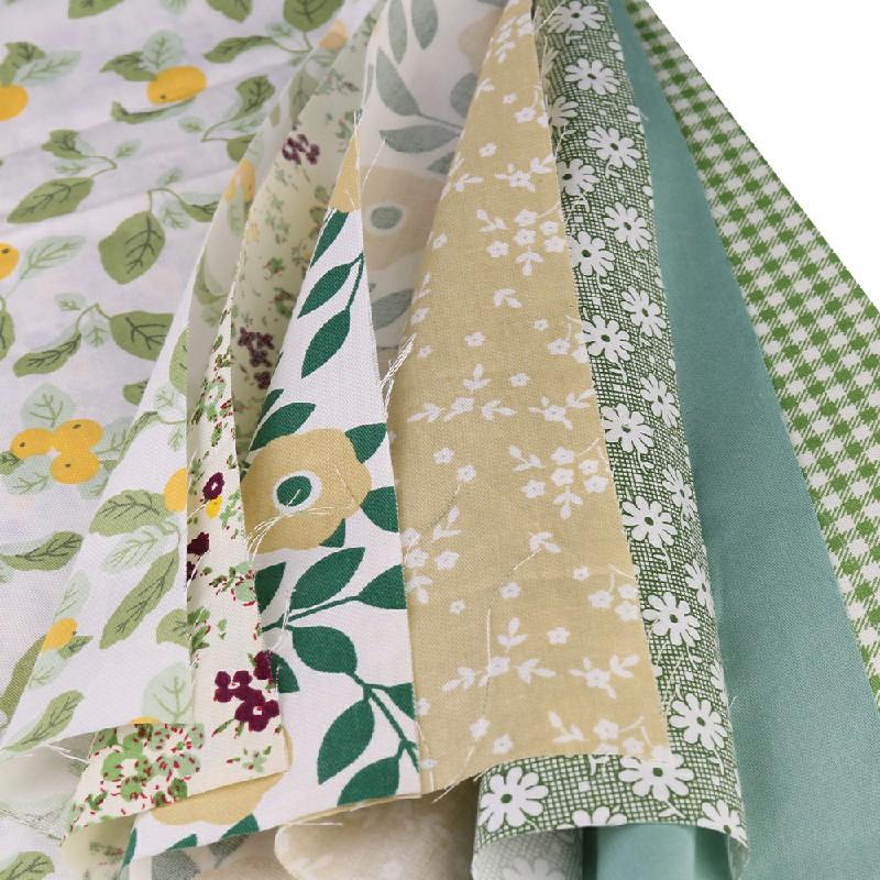 DIY 7PCS Bundles Fabric Cotton Floral Fat Quarters 25 x 25cm - Green