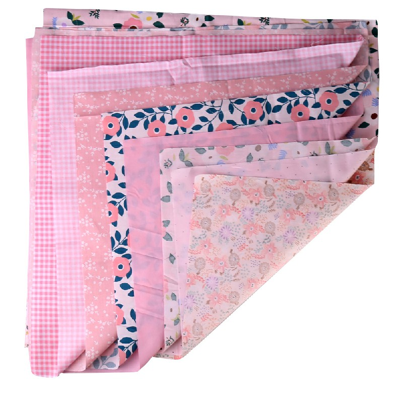 DIY 7PCS Bundles Fabric Cotton Floral Fat Quarters 50 x 50cm - Pink