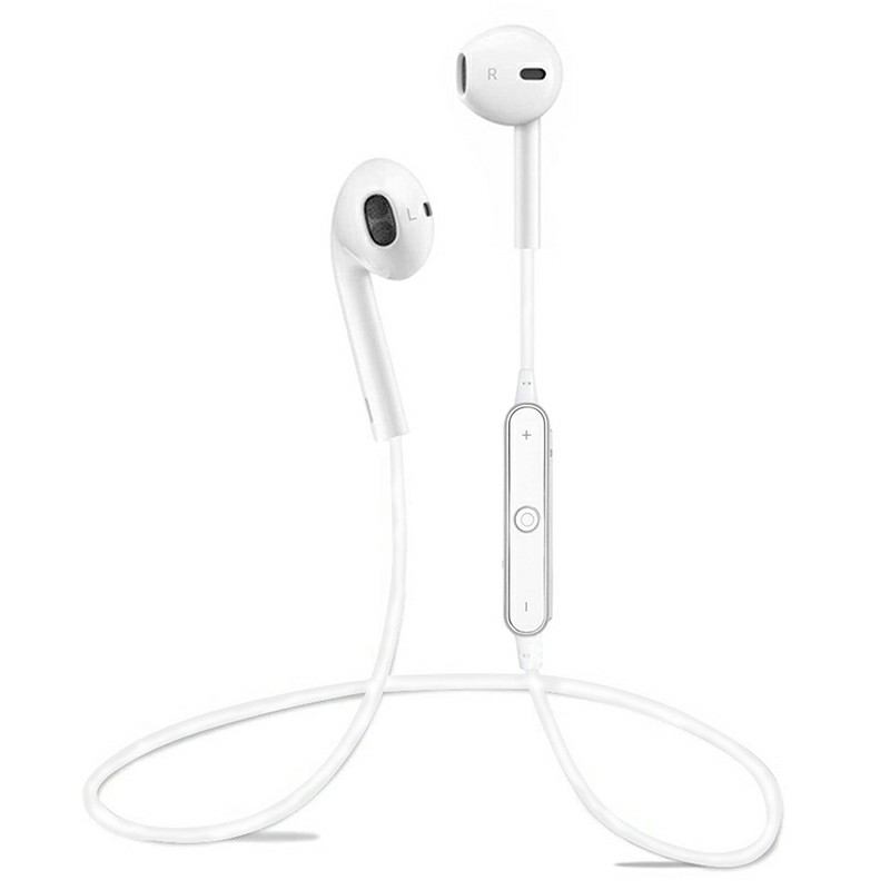 Sports Headphones Bluetooth 4.1 Earbuds with Mic Stereo - White