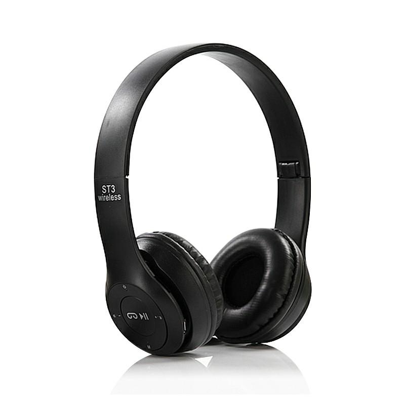 ST3 Wireless Bluetooth Headset Stereo Adjustable On-ear - Black