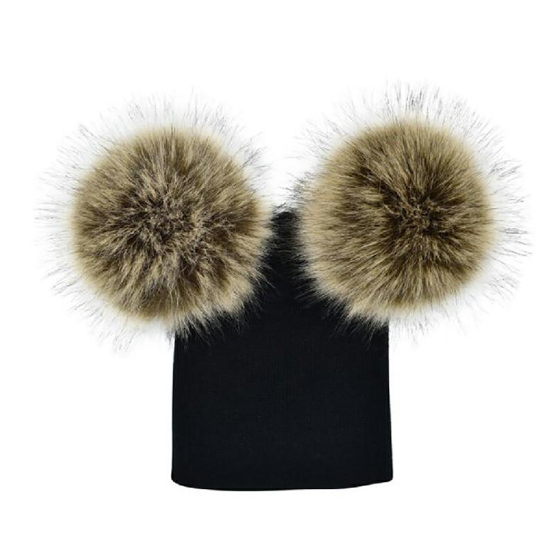 Winter Warm Double-Fur Beanie Cap - Black