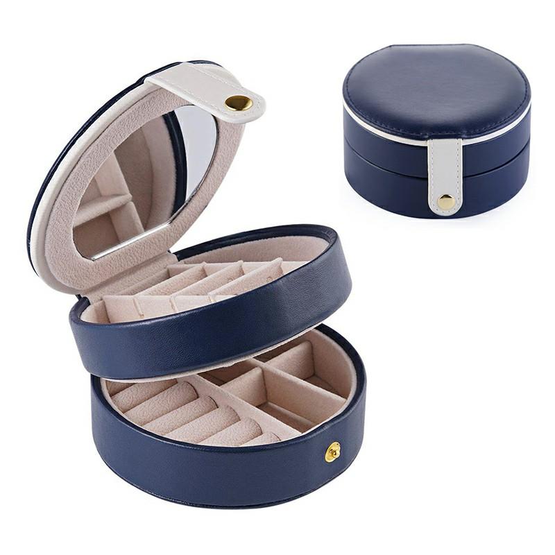Round PU Leather Case 2 Layers Organizer - Dark Blue