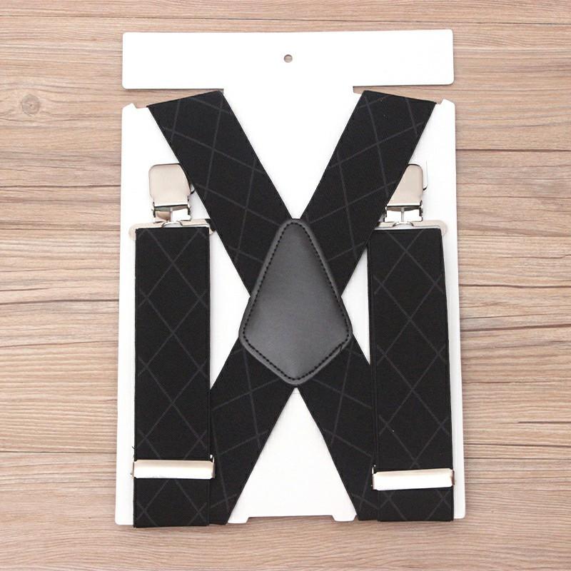 50mm Wide Diamond-shaped Dark Grain Trouser Braces Suspenders - Black