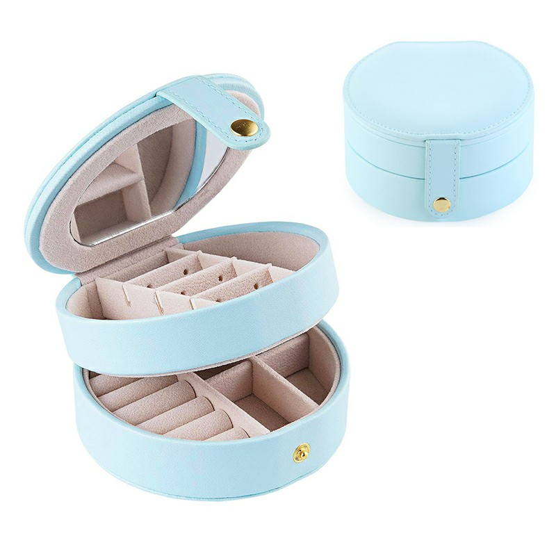 Round Jewelry Boxes 2 Layers - Light Blue