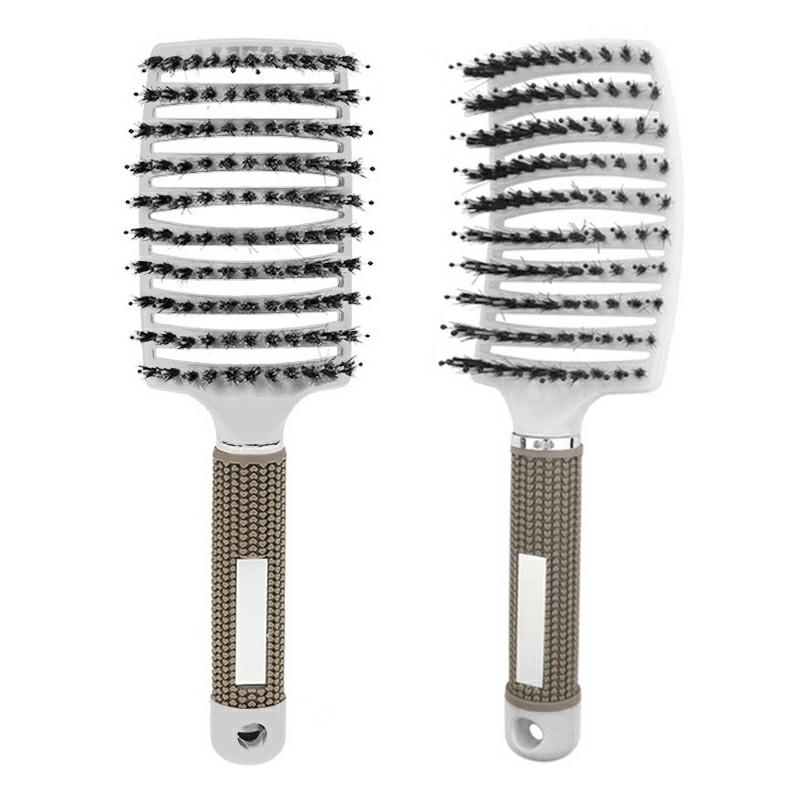 Natural Boar Bristle Detangling Nylon Brush Curly Hair Styler - White