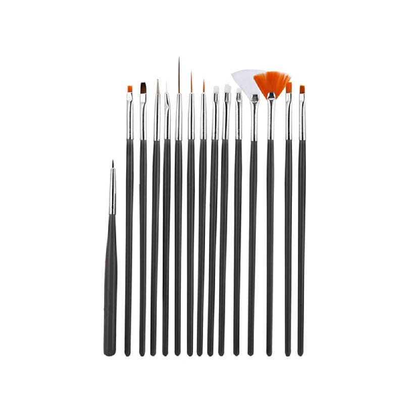 15 pcs Artist Painting Brushes Set - Black