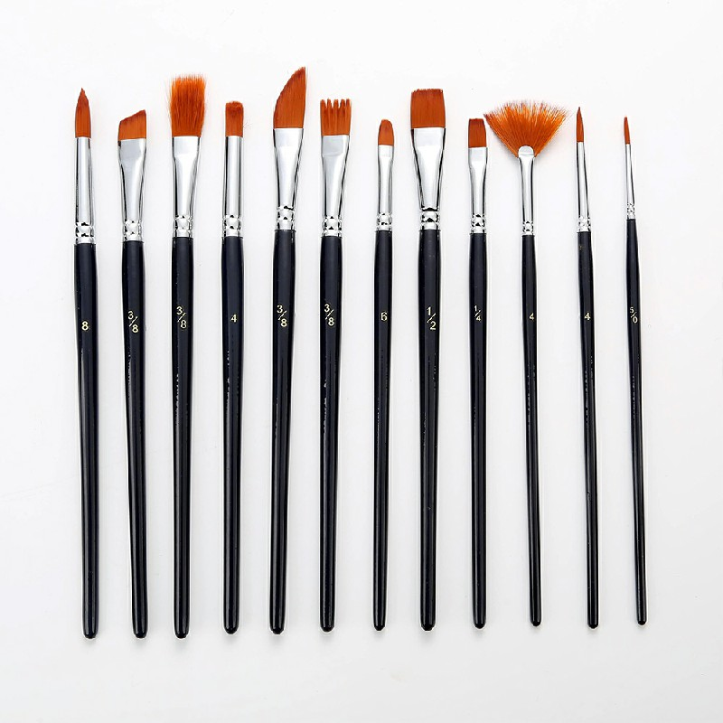 12 pcs Artist Professional Acrylic Oil and Watercolour Brush
