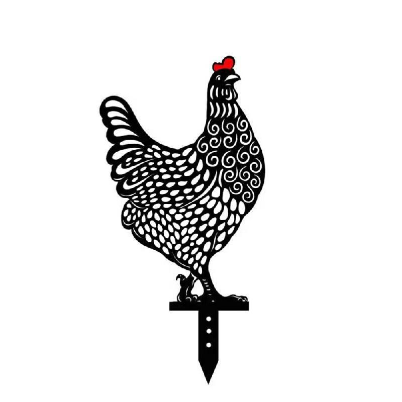 5 pcs Garden Acrylic Chicken Ornament Yard Art - B