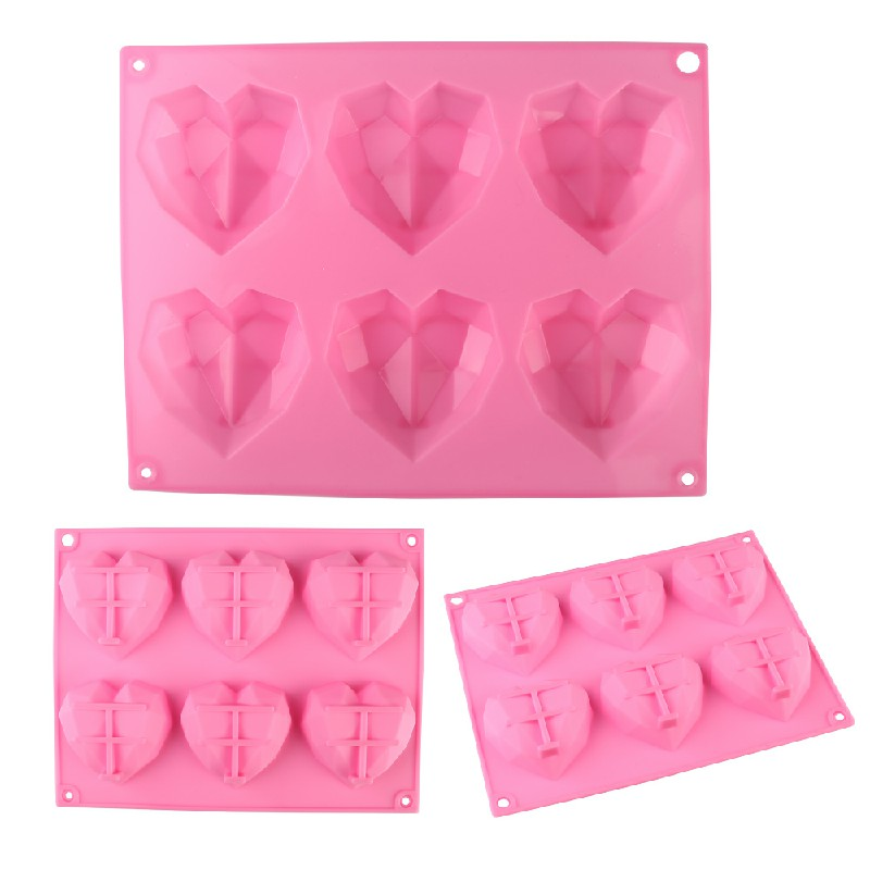 3D Love Heart Shaped Silicone Bakeware Mould - Pink