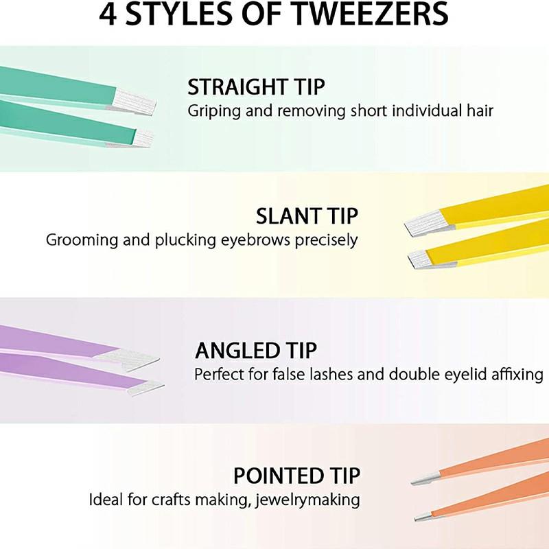 4 pcs Tweezer Set for Ingrown Hair Removal - Multicolor