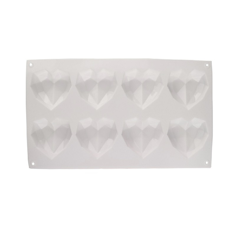 3D Love Heart Shaped Silicone Bakeware Mould - White