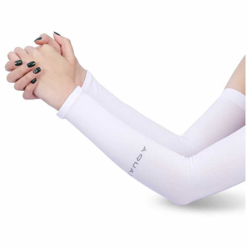 1 Pair Cooling UV Protection Arm Sleeves - White