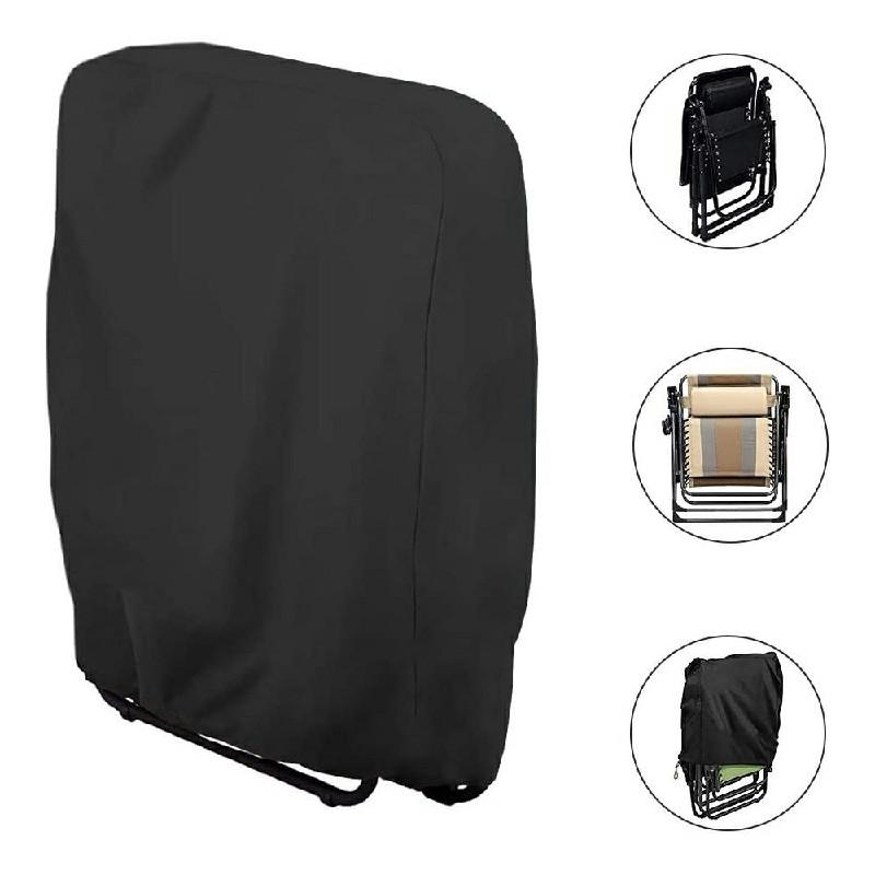 Waterproof UV Resistant Folding Reclining Sun Lounger Cover - Black