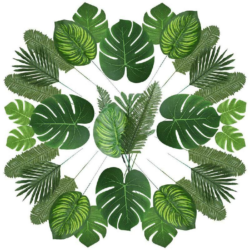 90 pcs Tropical Artificial Palm Leaves Jungle Beach Theme Decor