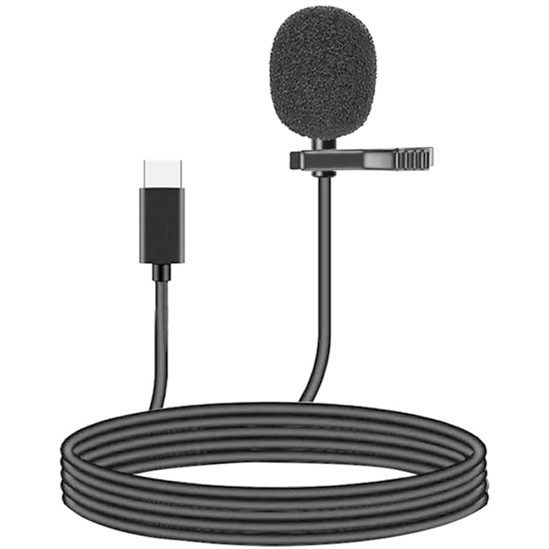 1.5m USB C Mini Clip-on Lapel Lavalier Microphone for Recording