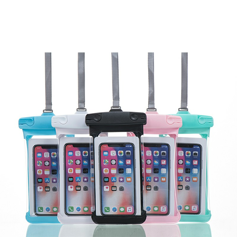 Universal 7.2 inch Waterproof Phone Pouch Glowing Bag - Pink