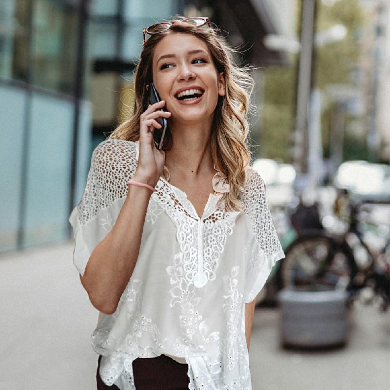 Plus Size Womens V Neck Lace Tops - White 5XL