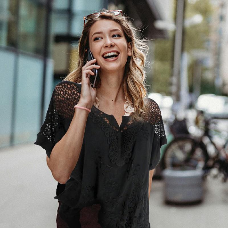 Plus Size Womens V Neck Lace Tops - Black 6XL