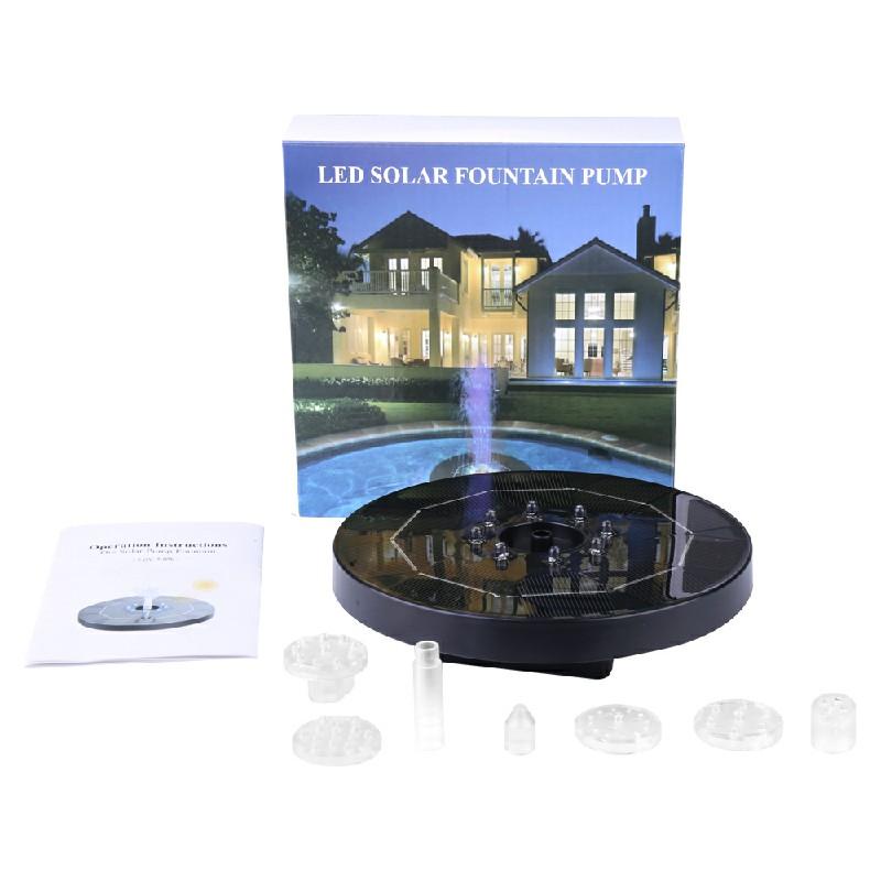 LED Light Solar Powered Fountain Floating Bird Bath Water Pump