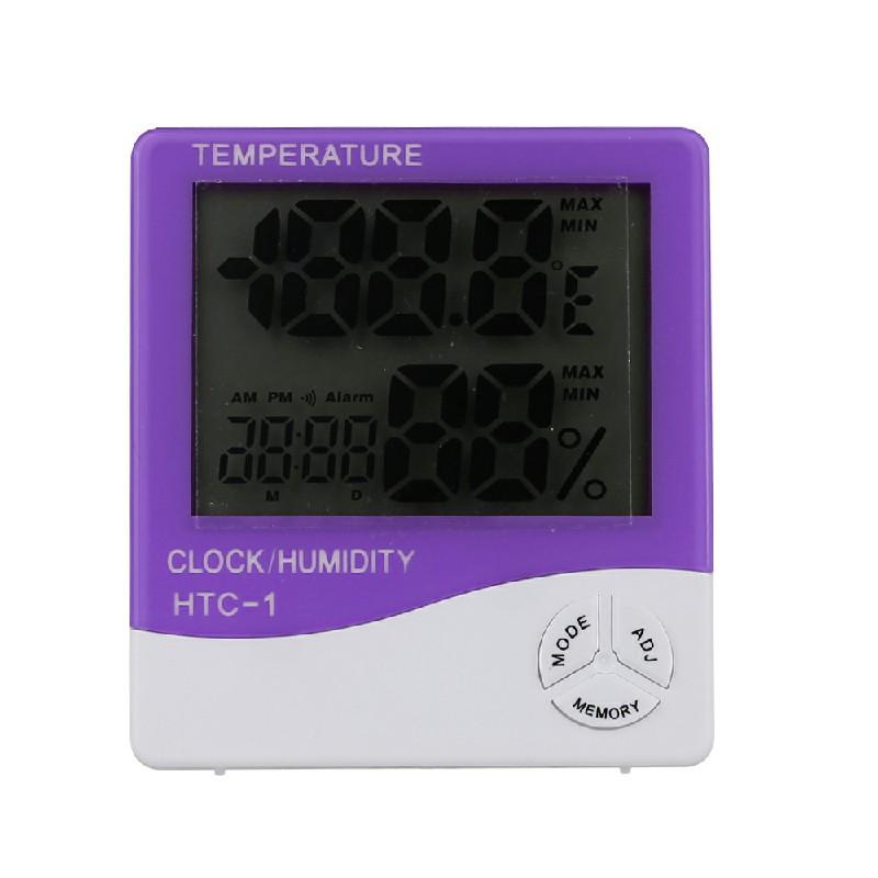 Digital Indoor LCD Clock Thermometer Humidity Meter - Purple