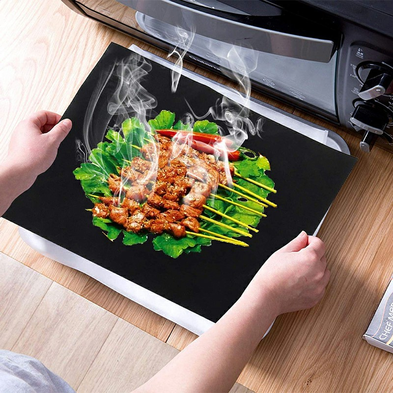 Teflon Non Stick Oven Liner BBQ Grill Mat for Fan Assisted Ovens - 33x40cm