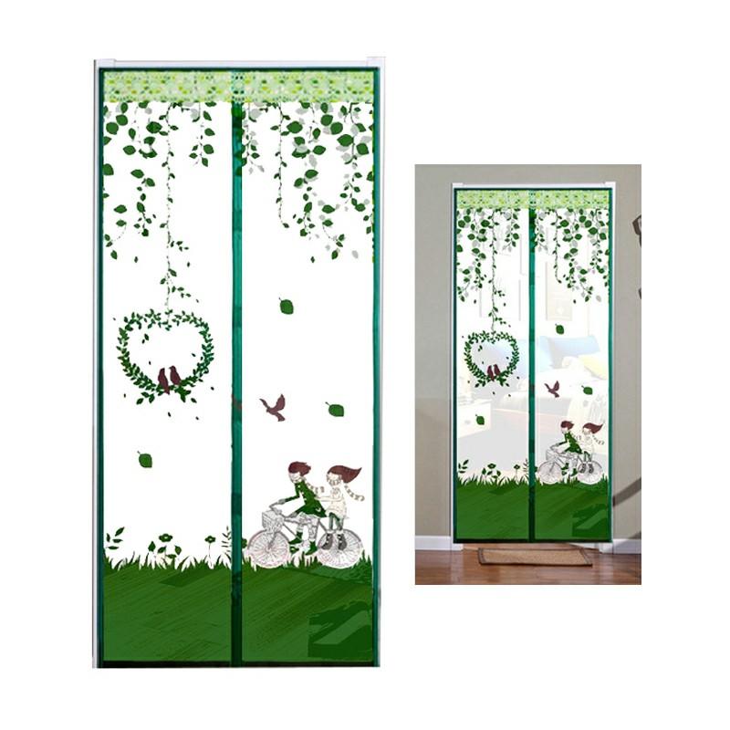 Magic Door Curtain Mesh Magnetic Hands Free - Green Bicycle