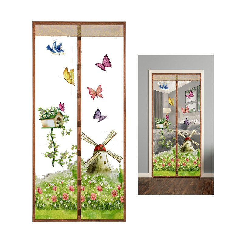 Magic Door Curtain Mesh Magnetic Hands Free - Coffee Windmill