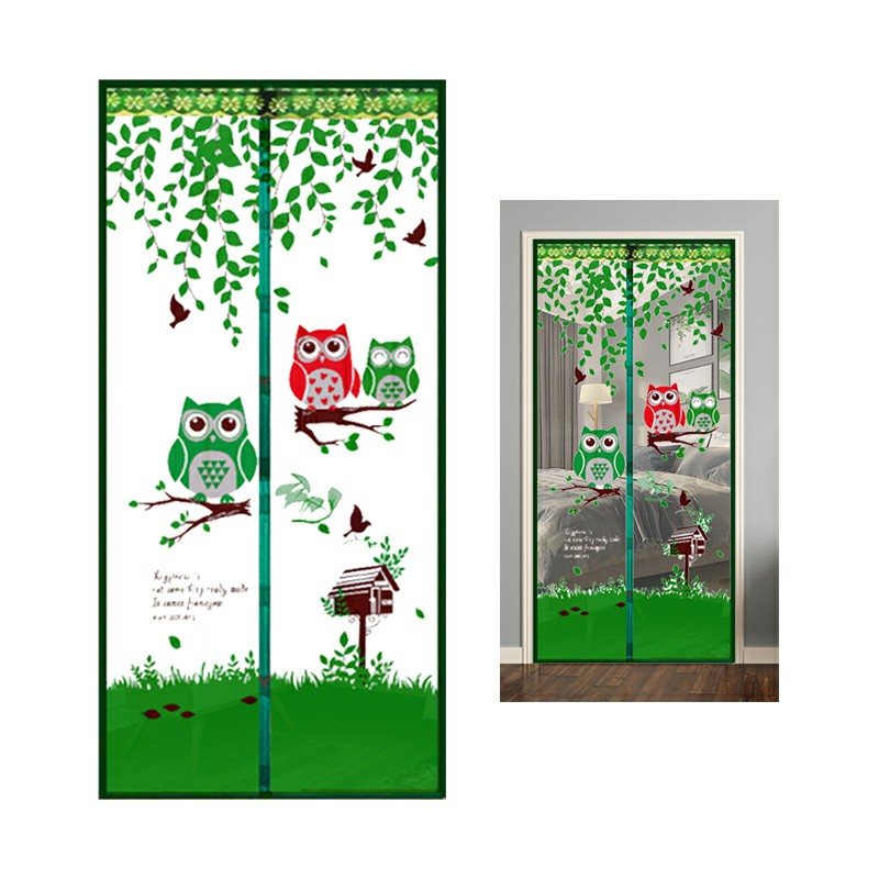 Magic Door Curtain Mesh Magnetic Hands Free - Green Owl