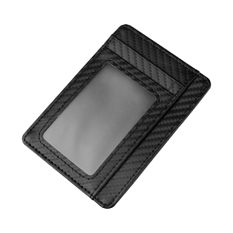 Men Anti-scan leather Slim ID Credit Card Holder RFID Blocking - Black