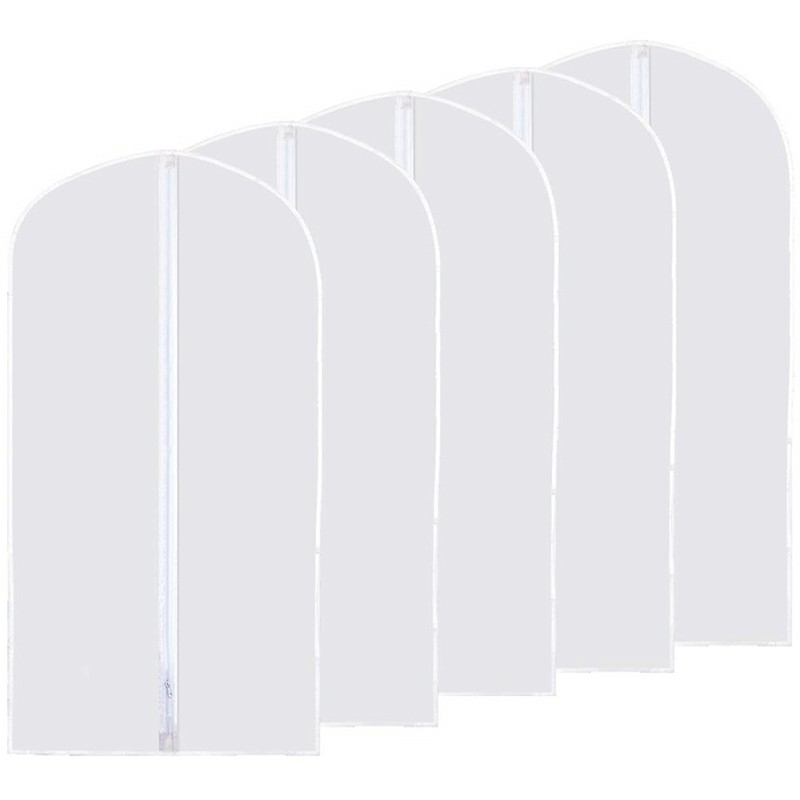 5 pcs Washable Clear Lightweight Zipper Garment Dustproof Bags 60x120cm - XL