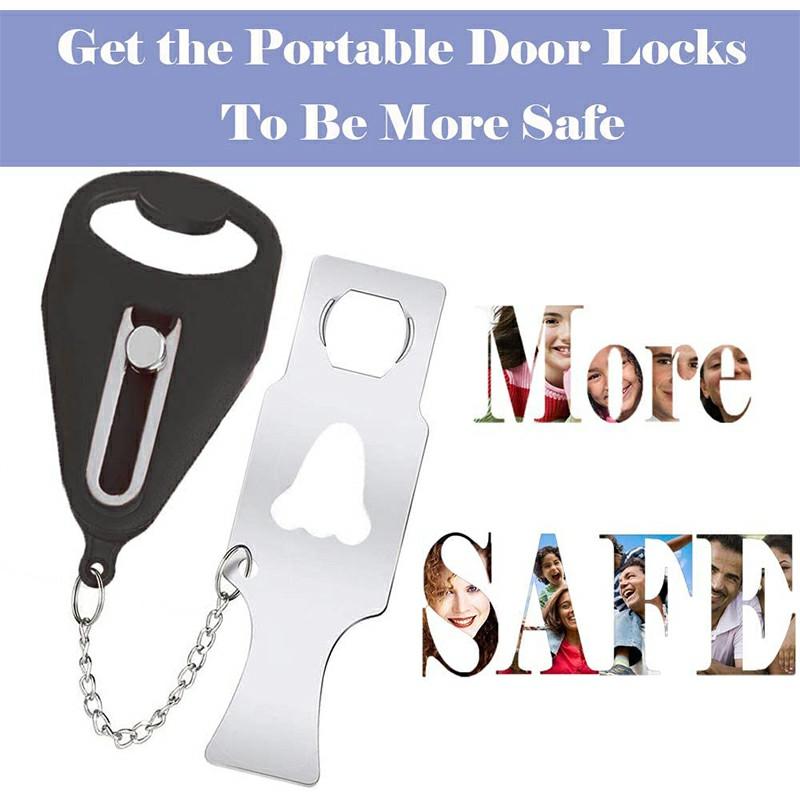 Portable Door Lock for Travel - Black.