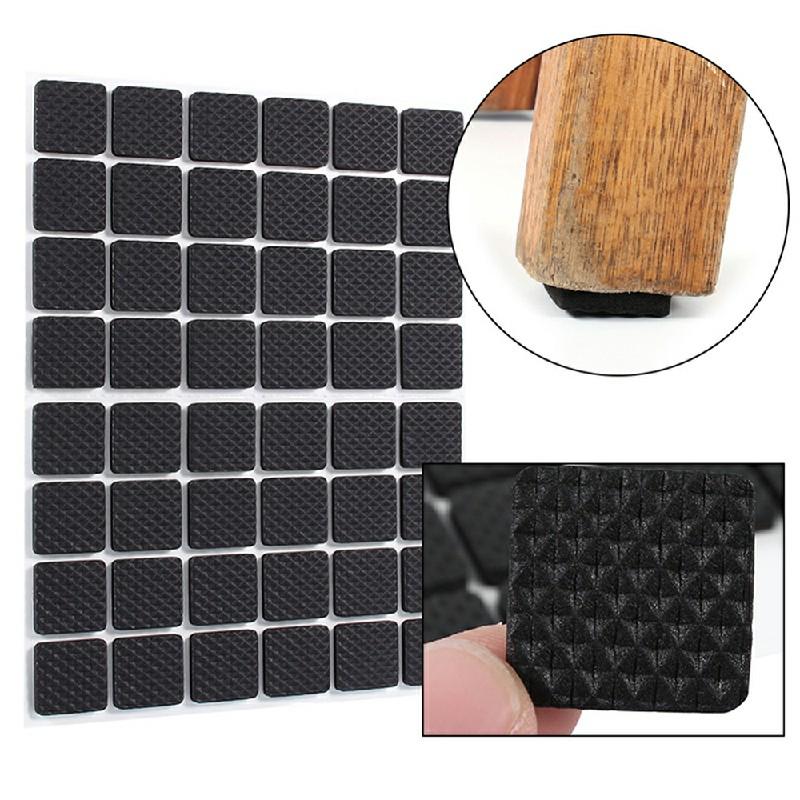Non Slip Self Adhesive Chair Leg Pads Floor Protectors - Square 48 pcs