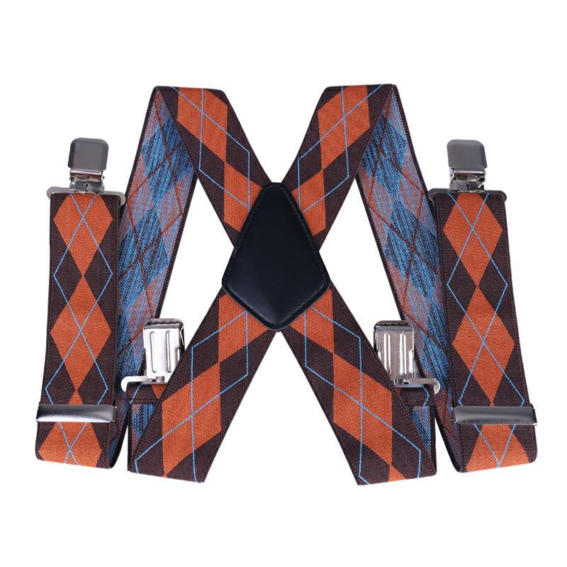 50mm Width Unisex Stripes Suspenders - Brown