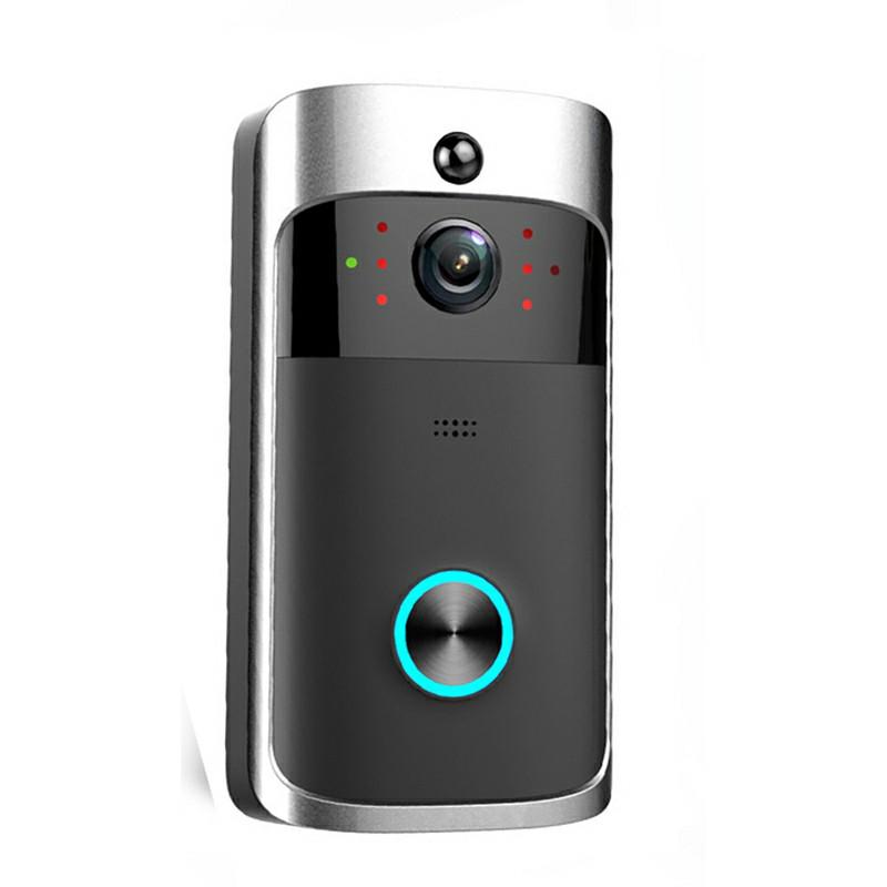 Smart Wireless Wifi Video Doorbell Free Hole - Black