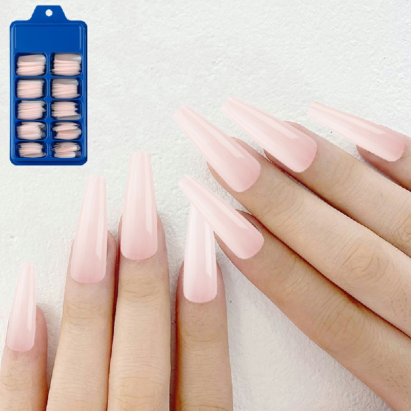 Long Acrylic Artificial False Nail 100 pcs - Pink