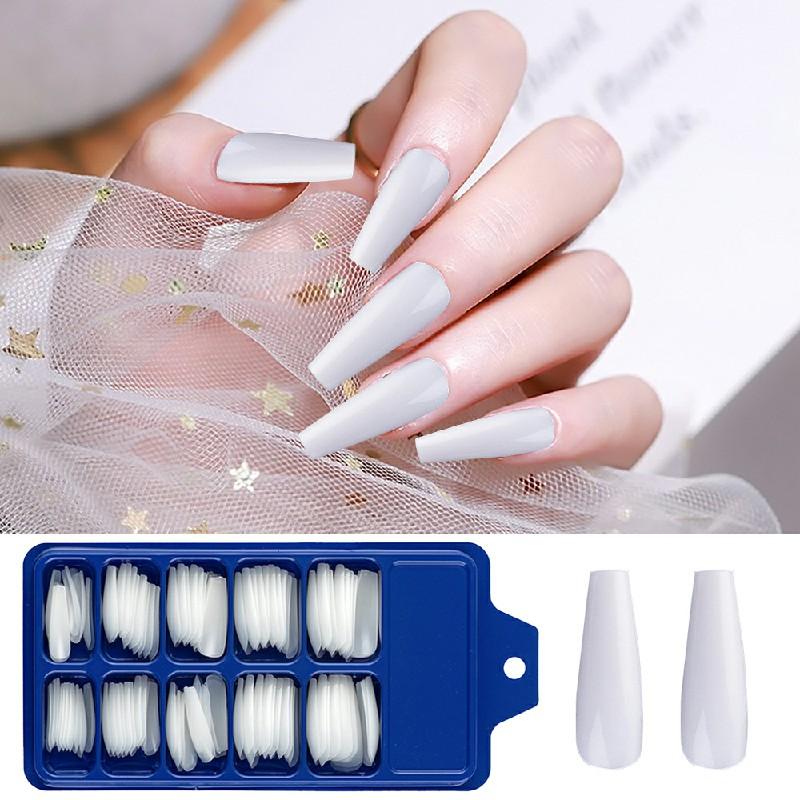 Long Acrylic Artificial False Nail 100 pcs - White