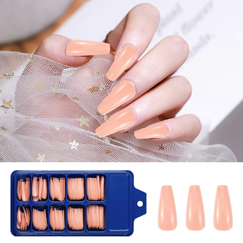 Long Acrylic Artificial False Nail 100 pcs - Nude Pink