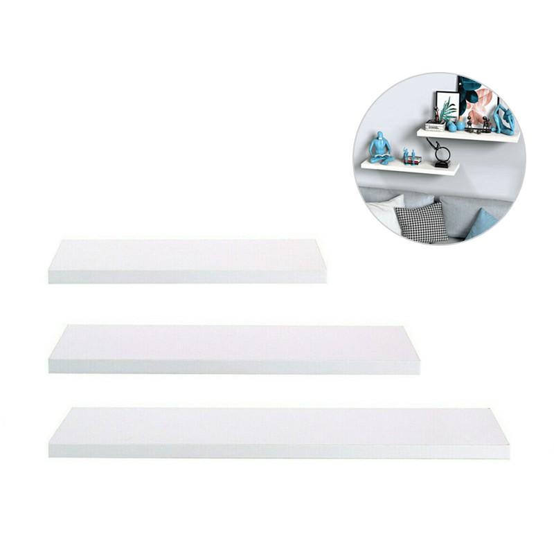 Large Set of 3 Floating Wall Shelves 30/40/50CM - White