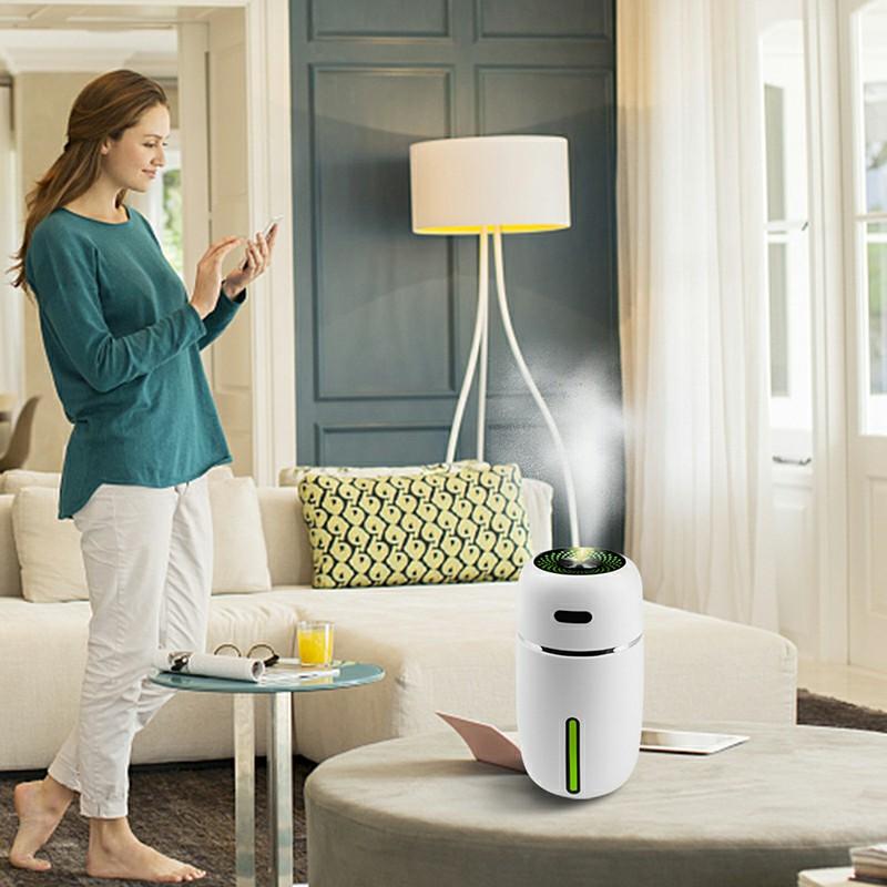 USB Car LED Air Purifier Essential Oil Humidifier - White